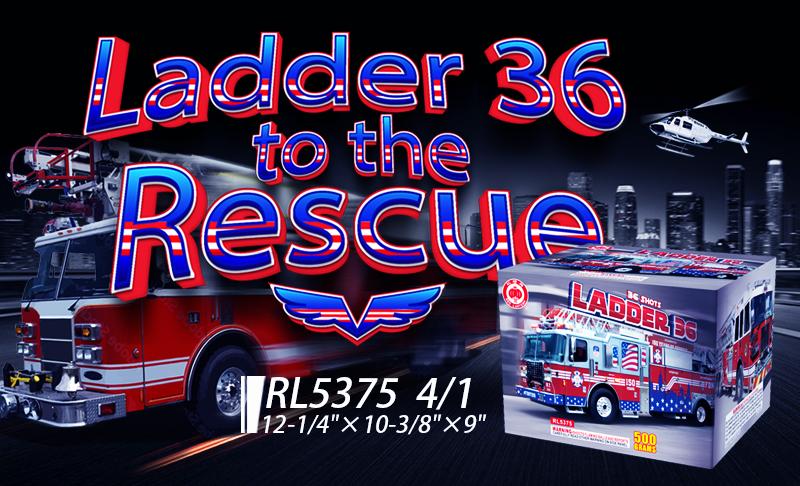 RL5357 Ladder 36 500 Gram Cakes 36 Shots Fireworks